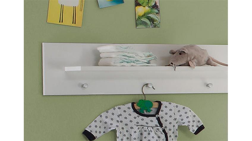 Wandboard OLIVIA Wandregal in weiß 3 Garderobenknöpfe
