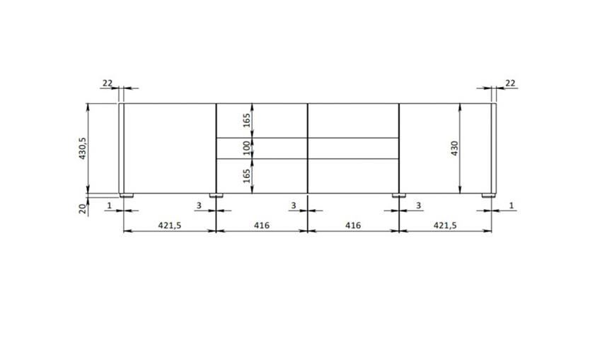 Lowboard IMOLA TV Unterteil weiß hochglanz Lack 173 cm