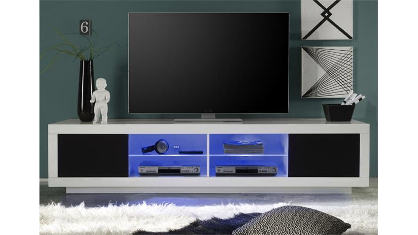 TV Lowboard PADUA Mediaboard weiß hochglanz 220 cm