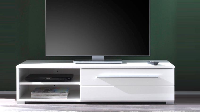 TV Lowboard MEZZO weiß hochglanz mit Wandboard weiß