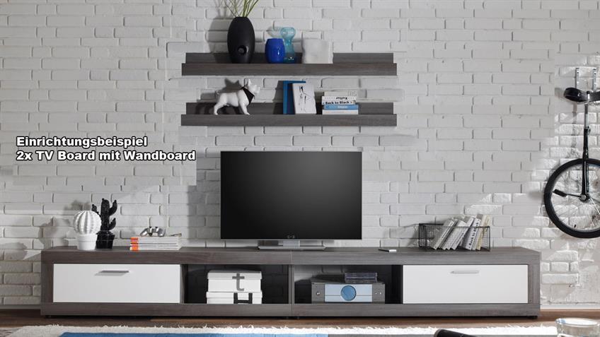 TV-Board OCEAN mit Wandboard Rauchsilber und Weiß