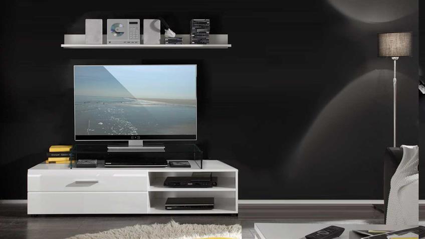TV-Board Shot weiß Hochglanz 1 Klappe und 2 Fächer mit Wandboard