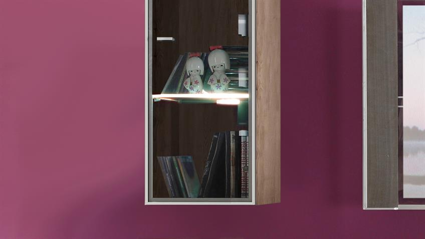 Wohnwand TETIS San Remo Eiche 2 TV-Boards Aufsatz und Vitrinen