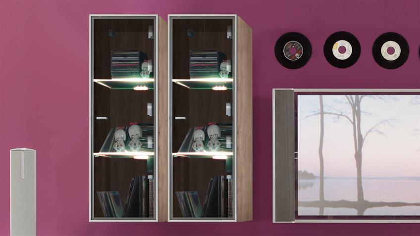 Wohnwand TETIS San Remo Eiche 2 TV-Boards 4 Glasvtrinen