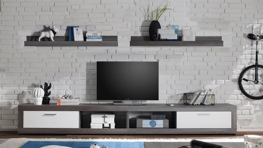 Wohnkombi OCEAN TV Board Wandboard Rauchsilber und Weiß