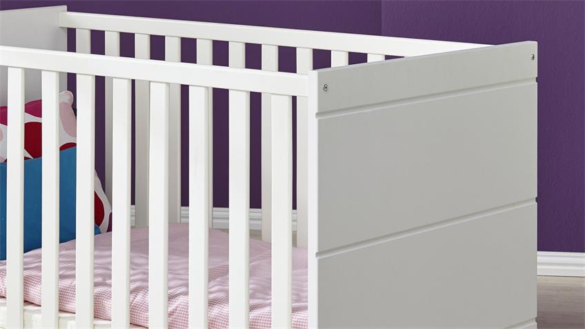 Babybett LUCCAS in Weiß Matt Liegefläche 70x140 cm