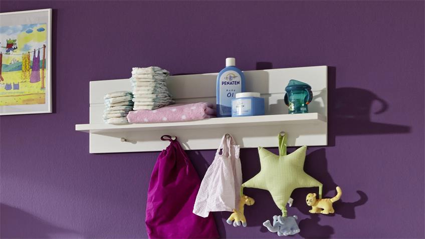 Wandboard LUCCAS Weiß mit Ablage u Garderobenknöpfen