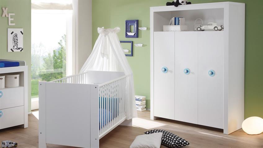Babyzimmerset OLIVIA 5-teilig Front und Korpus weiß Griffe blau