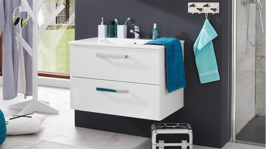 Waschbeckenunterschrank ADAMO mit Waschtisch weiß Hochglanz