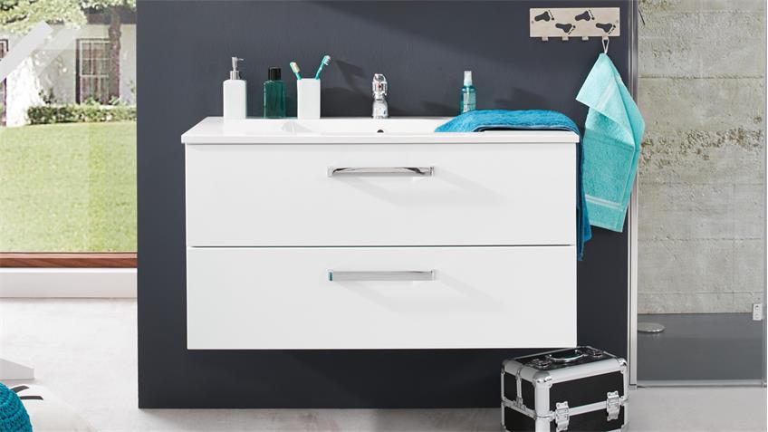 Waschbeckenunterschrank ADAMO weiß Hochglanz mit Waschtisch