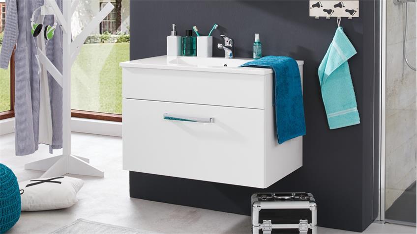Waschbeckenunterschrank ADAMO weiß Hochglanz 81 Waschbecken