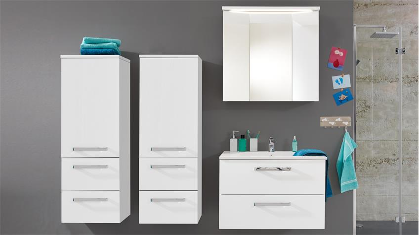 Badezimmer Set ADAMO in weiß Hochglanz tiefzieh Badmöbel