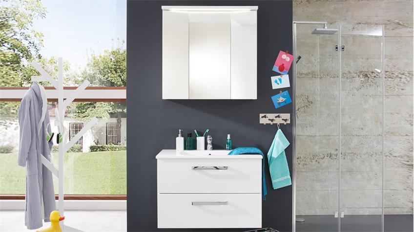 Badezimmer Set ADAMO weiß Hochglanz 2-teilig