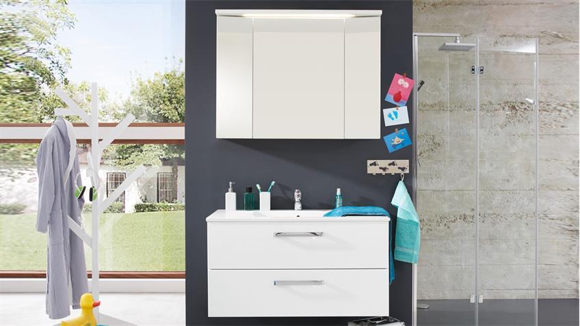 Badezimmer Set ADAMO weiß Hochglanz 2-tlg Spiegel Schrank