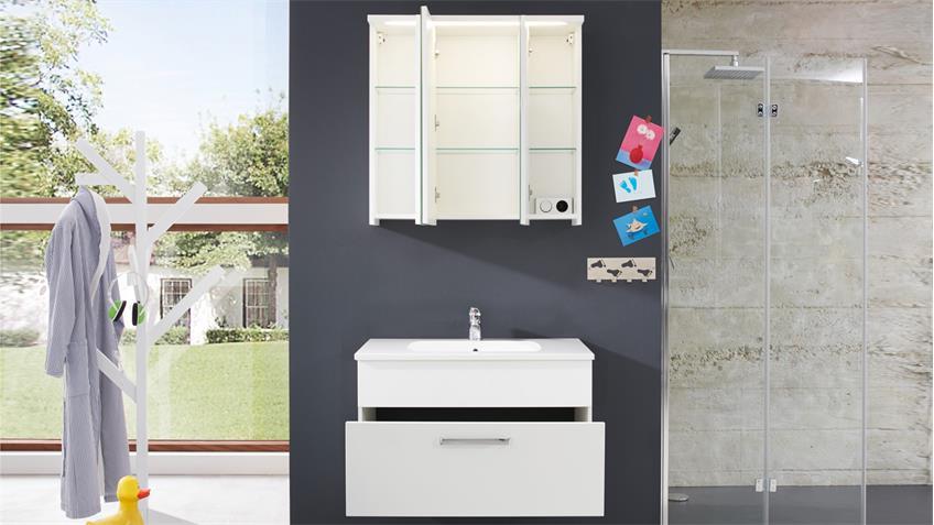 Badezimmer Set ADAMO 2-teilig in weiß Hochglanz