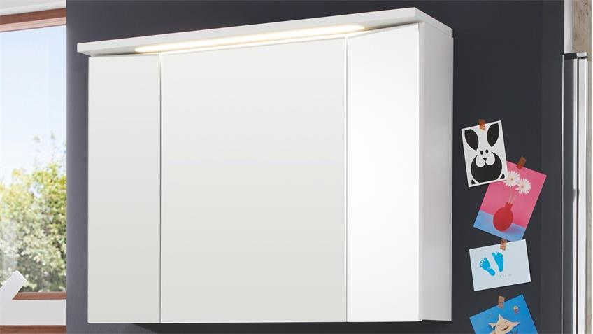 Badezimmer Set 2-tlg ADAMO Spiegelschrank weiß Hochglanz