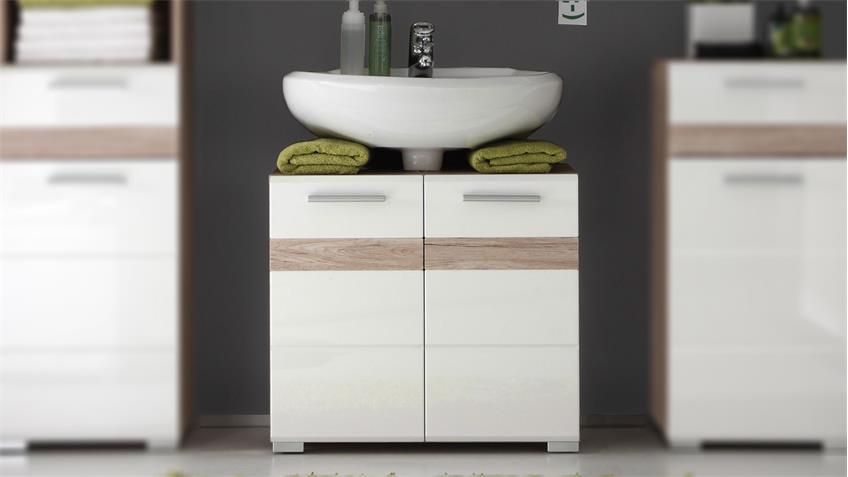 Waschbeckenunterschrank SETONE in San Remo weiß Hochglanz