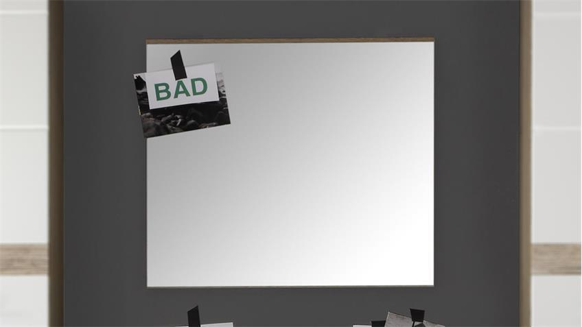 Bad Spiegel SETONE 60x55 cm Eiche San Remo hell Wandspiegel