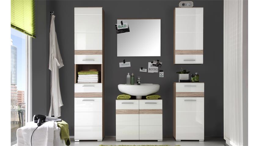 Badezimmer SETONE 5-teilig weiß Hochglanz Eiche San Remo