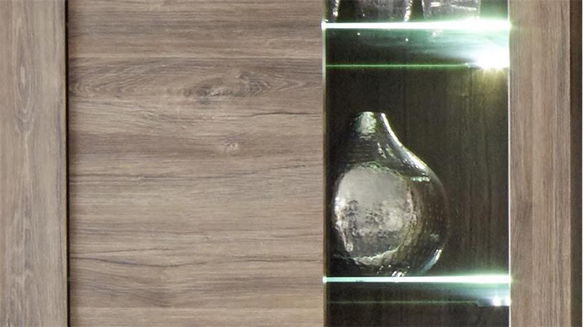 Wohnwand RUSTICO in Akazie dunkel Anbauwand mit LED