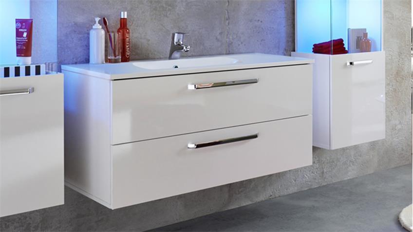 Waschbeckenunterschrank SKY weiß Hochglanz mit Waschbecken