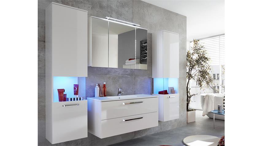 Badezimmer SKY in weiß Hochglanz 4-teilig Bad Set Badmöbel