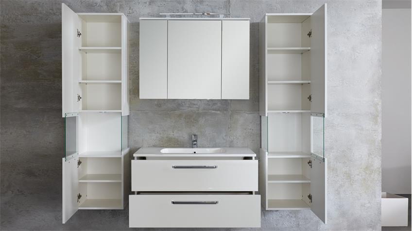 Badezimmer SKY 5-teilig weiß Hochglanz Badmöbel Bad Set