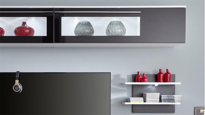 Wohnwand TOP in weiß schwarz Glas Anbauwand Wohnkombi