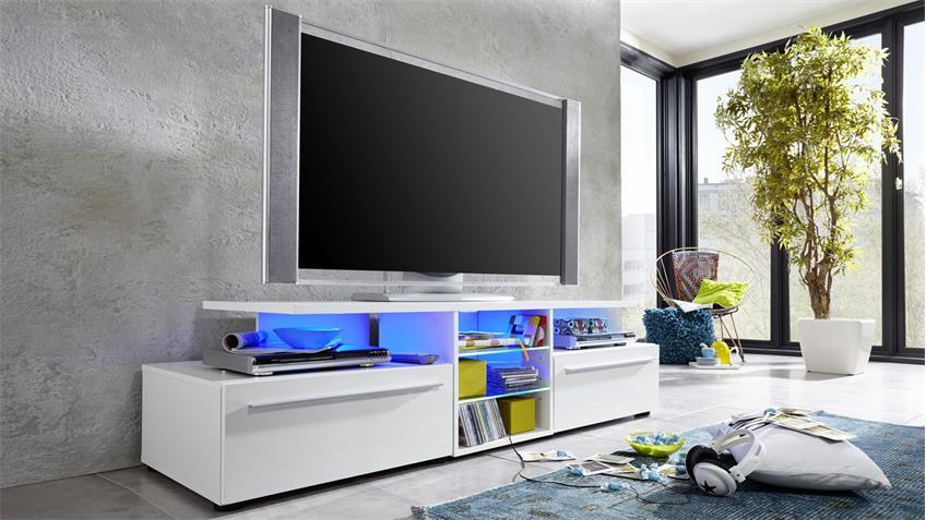 TV Lowboard VERSION weiß Hochglanz TV-Board