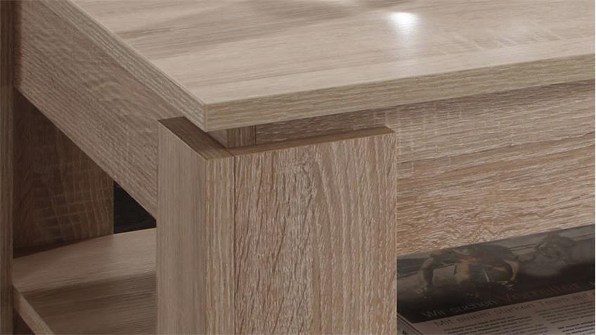 Couchtisch UNIVERSAL Eiche Sägerau hell Tisch mit Ablage