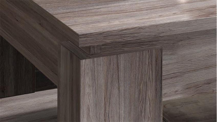 Couchtisch UNIVERSAL Eiche Sägerau dunkel Tisch mit Ablage