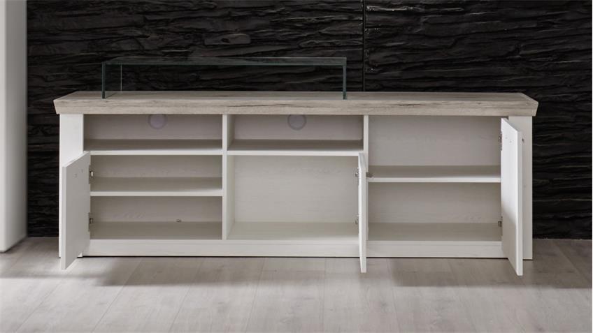 TV Board ELIA in Pinie weiß und Eiche San Remo Lowboard