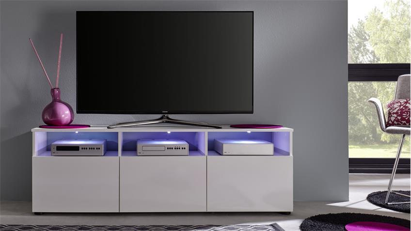 TV Lowboard 1 MEDIATHEK weiß Hochglanz TV-Board