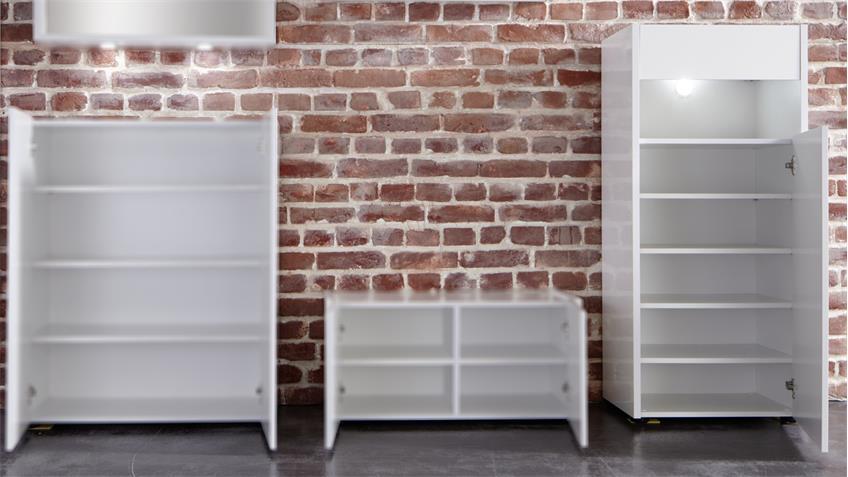 Kommode IMOLA in weiß Hochglanz Garderobenschrank