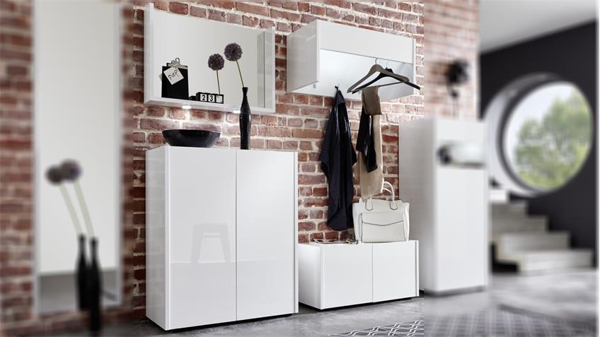 Garderobe 3 IMOLA 4-teilig  in weiß Hochglanz Flurmöbel
