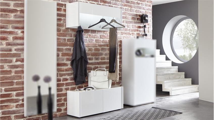 Garderobe 4 IMOLA Set 2-teilig in weiß Hochglanz Flurmöbel