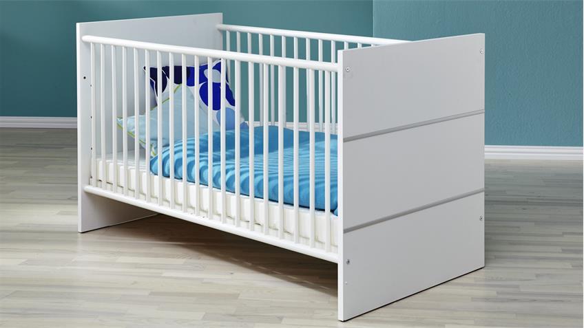 Babybett LEONY in weiß Dekor Gitterbett 70x140 cm