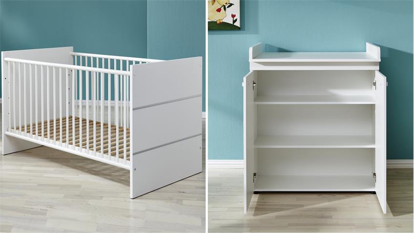Babyzimmer LEONY Set 2-teilig in weiß Dekor