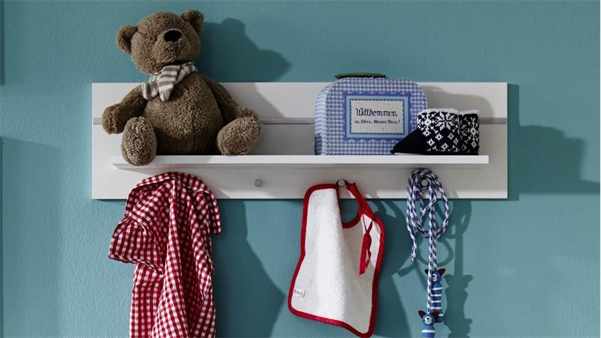Wandboard LEONY weiß mit Garderobenknöpfen