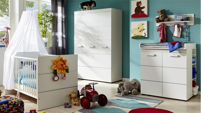 Babyzimmer LEONY in weiß Dekor Komplettset 6-teilig