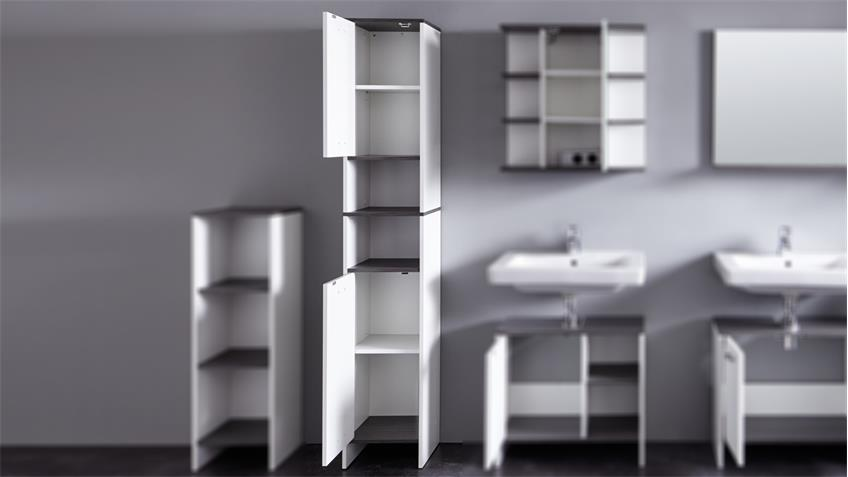 Badschrank SAN DIEGO in weiß und Rauchsilber