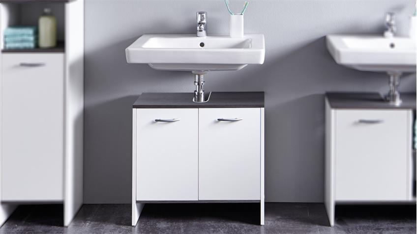 Waschbeckenunterschrank 1 SAN DIEGO in weiß Rauchsilber Bad
