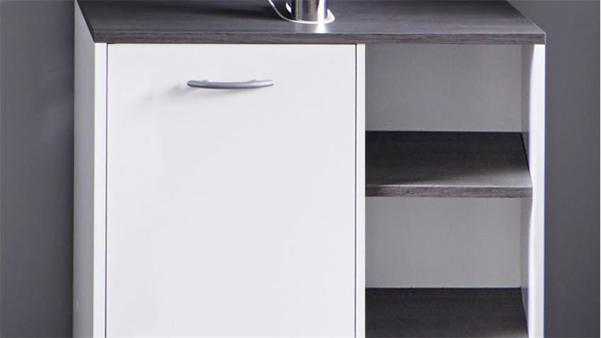Waschbeckenunterschrank 2 SAN DIEGO Bad in weiß Rauchsilber