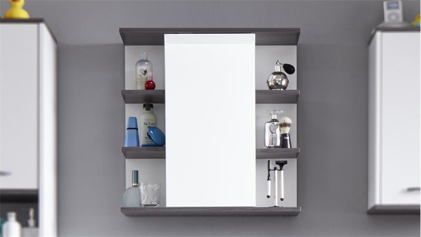 Bad Spiegelschrank SAN DIEGO weiß Rauchsilber Bad Spiegel