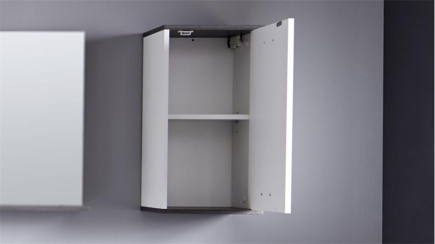 Bad Hängeschrank SAN DIEGO weiß und Rauchsilber Badschrank