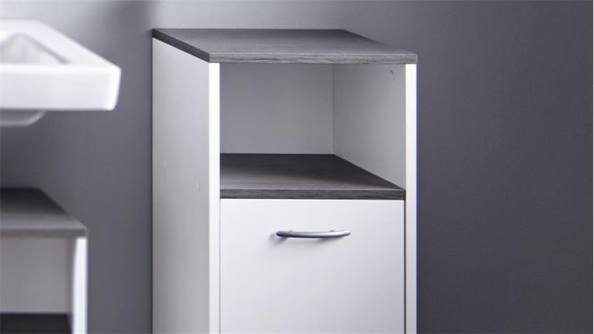 Bad Kommode SAN DIEGO weiß und Rauchsilber Badschrank