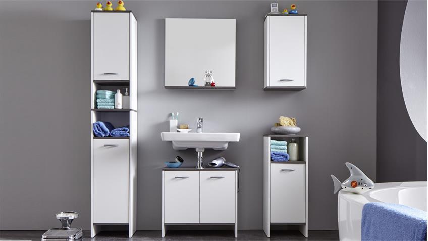 Badezimmer 1 SAN DIEGO 5-tlg weiß Rauchsilber Badmöbel Bad
