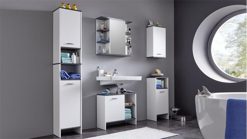 Badezimmer 2 SAN DIEGO weiß Rauchsilber Badmöbel Bad 5-tlg