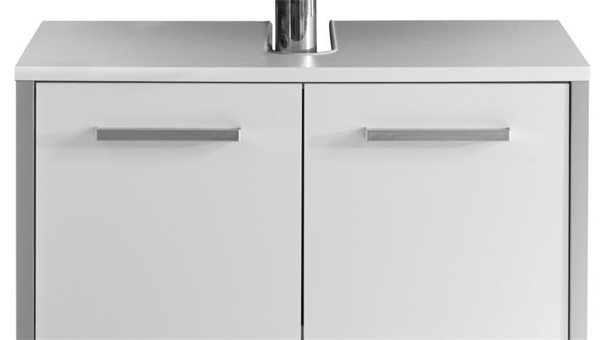 Waschbeckenunterschrank TRISTO in weiß Melamin Hochglanz