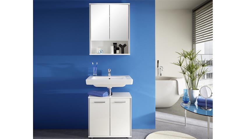 Badezimmer Set 1 TRISTO in weiß Melamin Hochglanz tiefzieh